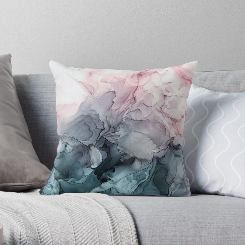Blush and Payne's Grey Flowing Abstract Painting Throw Pillow