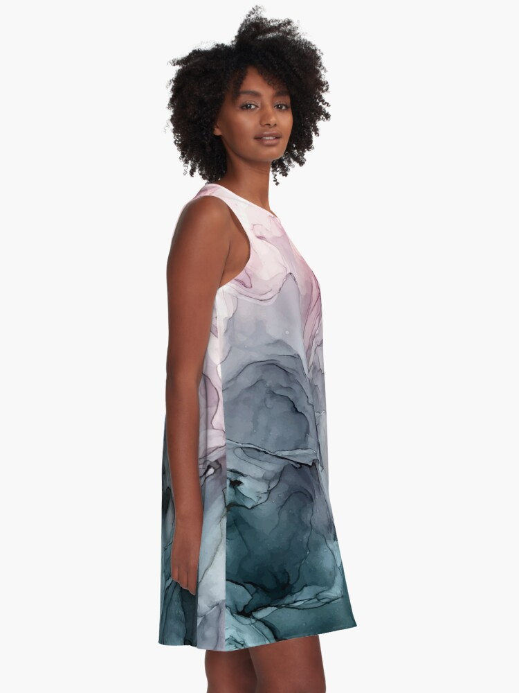 Alternate view of Blush and Payne's Grey Flowing Abstract Painting A-Line Dress
