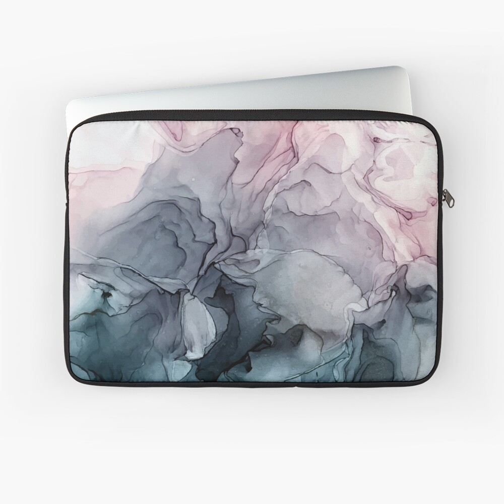 Blush and Payne's Grey Flowing Abstract Painting Laptop Sleeve Front