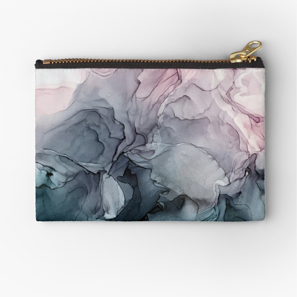Blush and Payne's Grey Flowing Abstract Painting Zipper Pouch