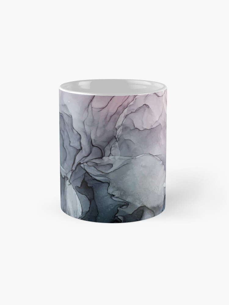 Alternate view of Blush and Payne's Grey Flowing Abstract Painting Mug
