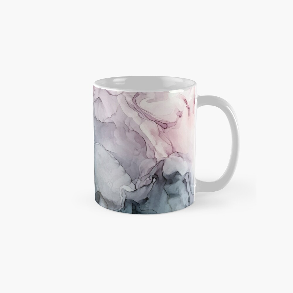 Blush and Payne's Grey Flowing Abstract Painting Mug