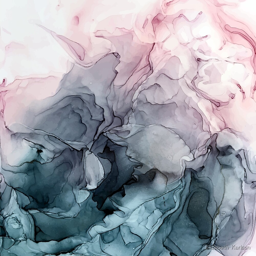 """""""Blush And Payne's Grey Flowing Abstract Painting"""" By"""