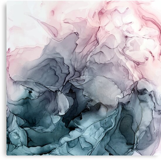 Blush and Payne's Grey Flowing Abstract Painting by Elizabeth  Karlson