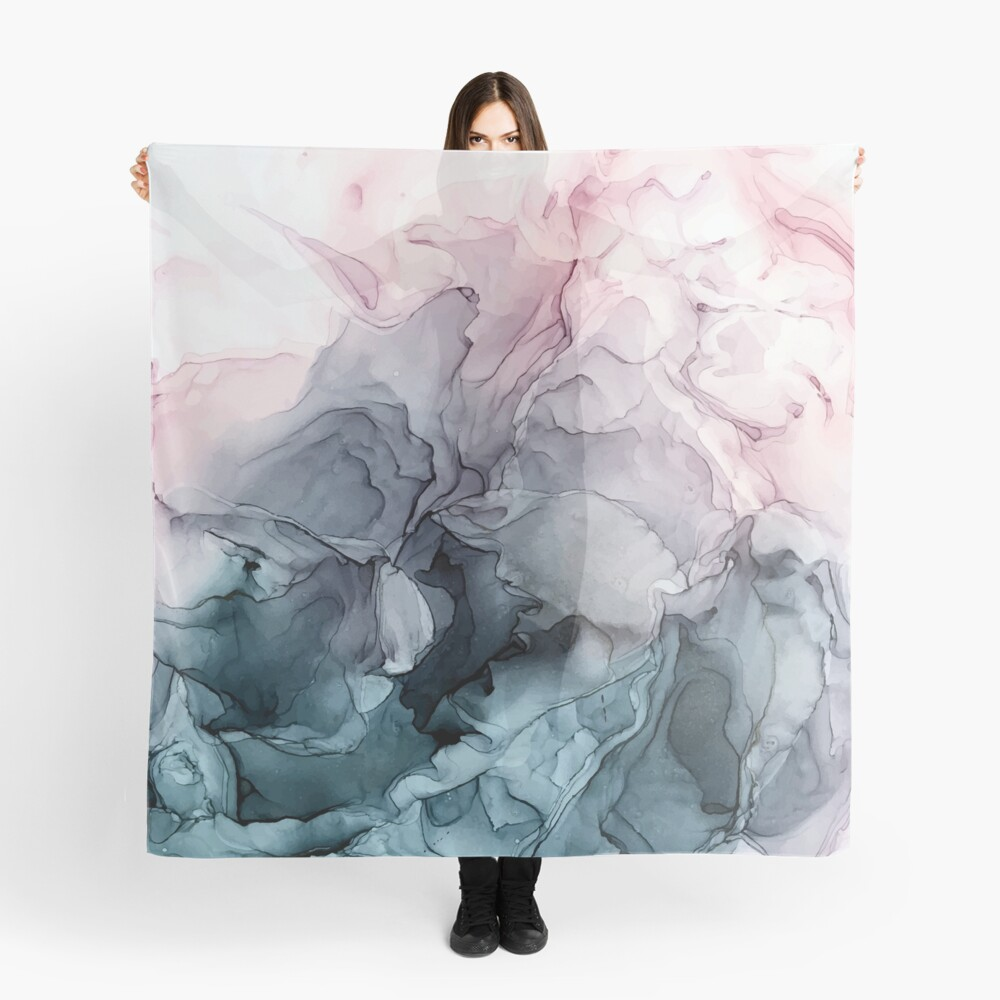 Blush and Payne's Grey Flowing Abstract Painting Scarf