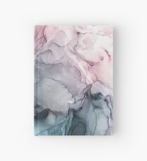 Blush and Payne's Grey Flowing Abstract Painting Hardcover Journal