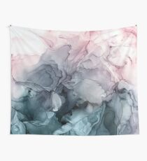 Blush und Paynes graue fließende abstrakte Malerei Wandbehang