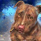 Red Nose Pit Bull with a Cigar by ibadishi