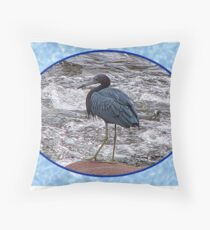 Little Blue Heron at the River Throw Pillow