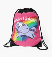Hello Unicorn Drawstring Bag