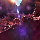Navajo Pups Welcome Dawn by Wayne King
