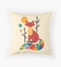 Rainbow Fox Throw Pillow