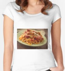 Chicken Parmesan with Linguine Women's Fitted Scoop T-Shirt