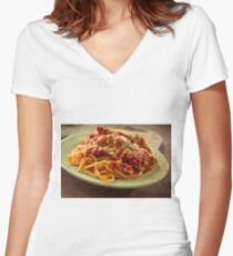 Chicken Parmesan with Linguine Women's Fitted V-Neck T-Shirt