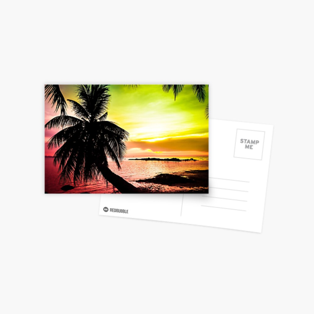 Tropical colorful sunset Postcard