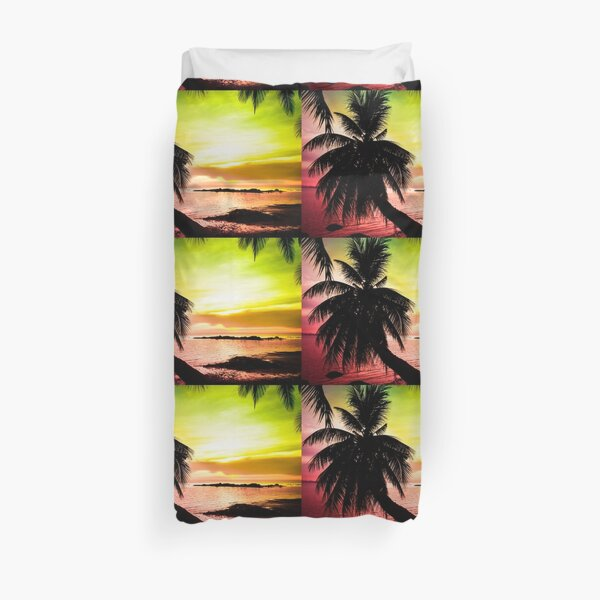 Tropical colorful sunset Duvet Cover