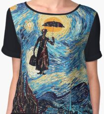 The Flying Lady with an Umbrella Oil Painting Chiffon Top