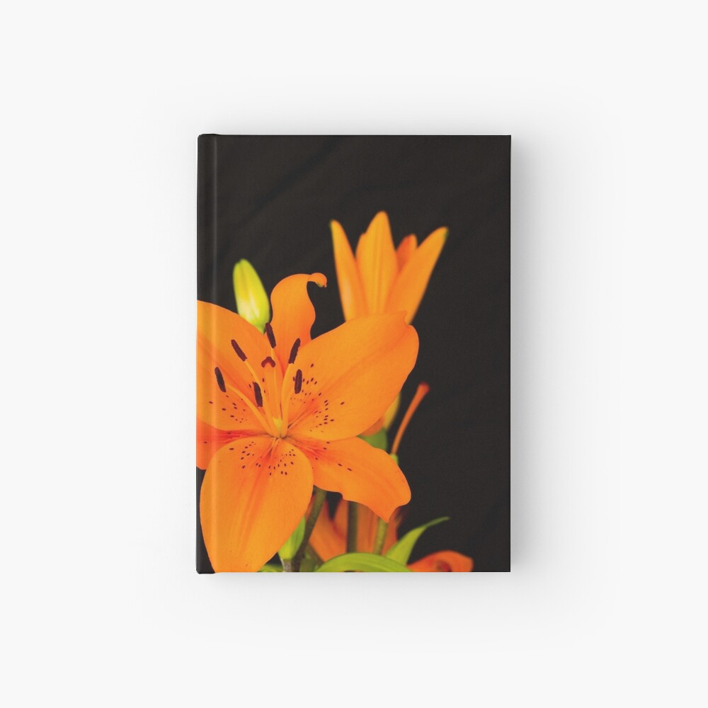 Orange lilies flowers Hardcover Journal