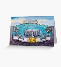 MG Blue Roadster Greeting Card