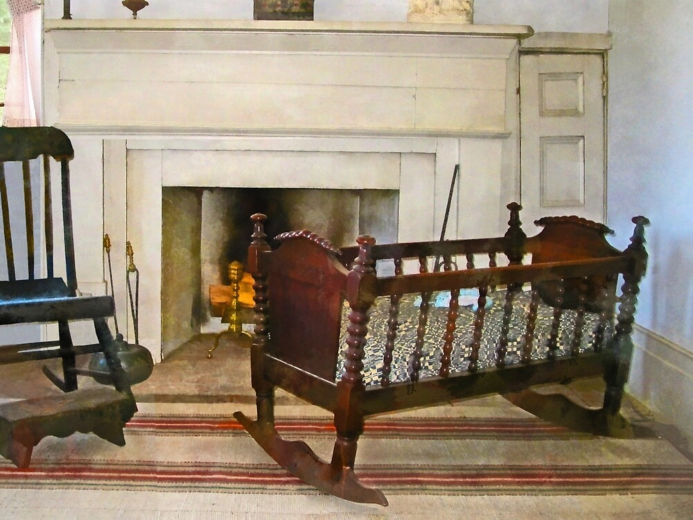 Cradle Near Fireplace by Susan Savad