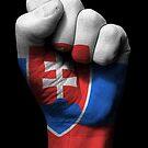 Flagge der Slowakei auf einer angehobenen geballten Faust von jeff bartels