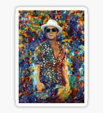 Funky singer rainbow abstract Sticker