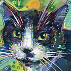 Tuxedo cat painting - 2011 by Gwenn Seemel