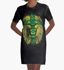 Yellow Lion Graphic T-Shirt Dress