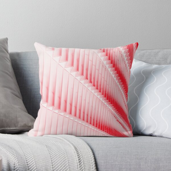 White and red design Throw Pillow