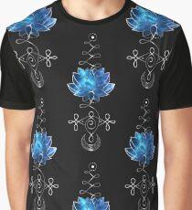 Lotus Unalome - Blaue Galaxie Grafik T-Shirt