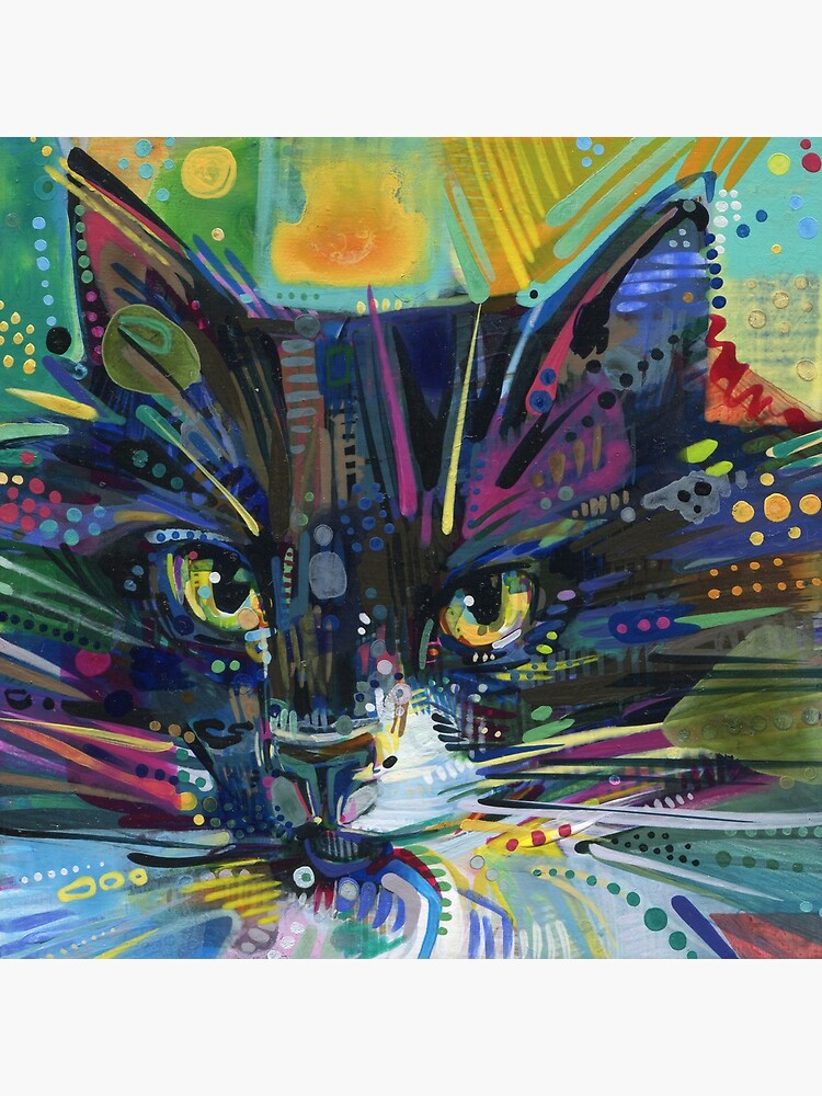 Black and white maine coon cat painting - 2011 by gwennpaints