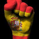 Flagge von Spanien auf einer angehobenen geballten Faust von jeff bartels