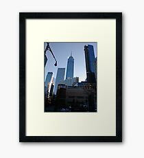 Manhattan, New York, city, Jersey City, view, buildings, water, shore, sky, ✈, plane, skyscrapers Framed Print