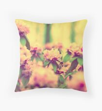 Vintage Bumblebee's Bush Throw Pillow