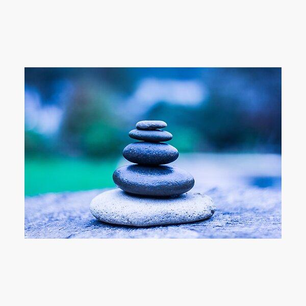 Zen stones blue Photographic Print