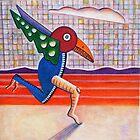 The Running Bird (acrylic) by Charles  Jones