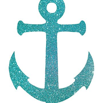 Aqau Glitter Looking Ship Anchor by Whimsydesigns