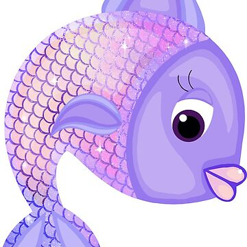 Purple Cartoon Fish Sticker by Whimsydesigns