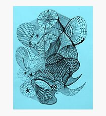 Pen and Ink on Blue Photographic Print