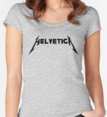 Helvetica Typography Design Humor Women's Fitted Scoop T-Shirt