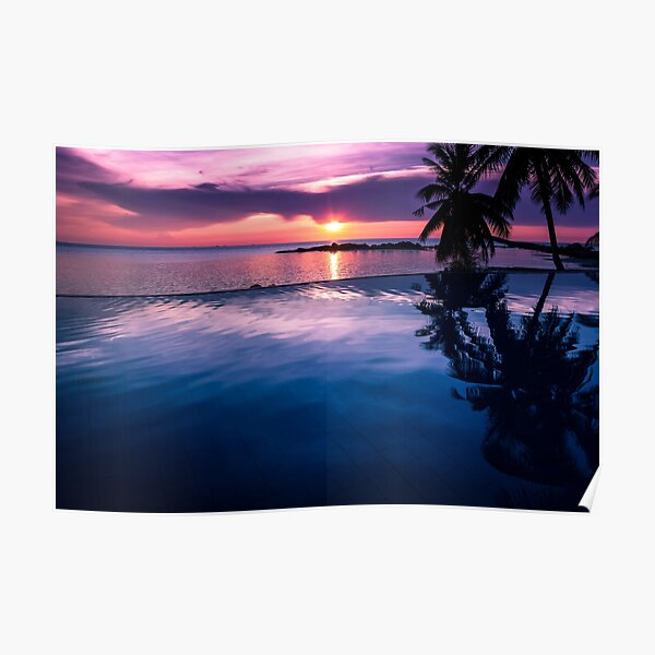 Tropical sunset pool Poster