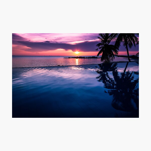 Tropical sunset pool Photographic Print
