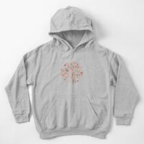 Fairy forest with raccoons and hares, silver fir trees, flowers and herbs. Kids Pullover Hoodie