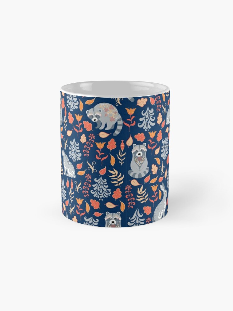 Alternate view of Fairy forest with raccoons and hares, silver fir trees, flowers and herbs. Mugs