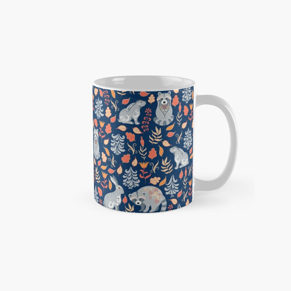 Fairy forest with raccoons and hares, silver fir trees, flowers and herbs. Mugs