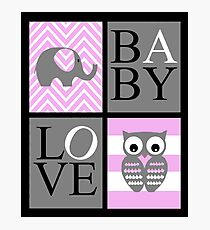 Love Baby Elephant and Owl Photographic Print