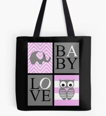 Love Baby Elephant and Owl Tote Bag