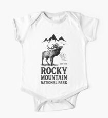 Rocky Mountain Nationalpark T Shirt Weinlese-Colorado-Elche Baby Body Kurzarm