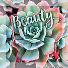 """Beauty"" mint green and pink cactus close-up  by Luceworks"