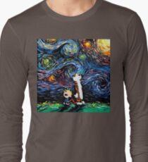 Calvin and hobbes Starry Night van Gogh Long Sleeve T-Shirt